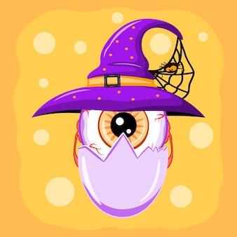 Netter halloween-charakter-augapfel in der eierschale, der einen hexenhut mit spinnenvektorillustration trägt