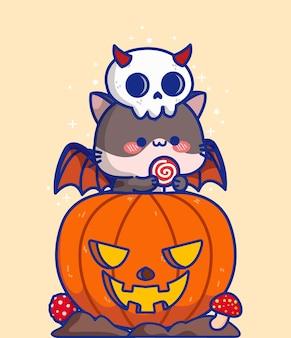 Netter halloween-geschnitzter kürbis mit katzen-vektor-illustration