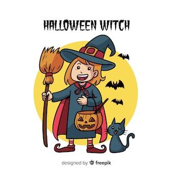 Netter halloween-hexenhintergrund