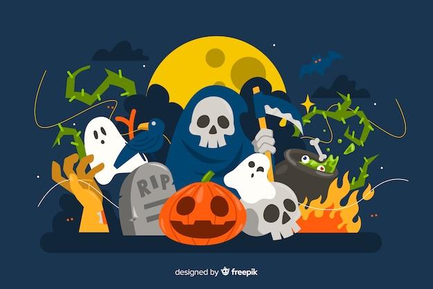 Netter halloween-hintergrund mit mehreren charakteren im flachen design