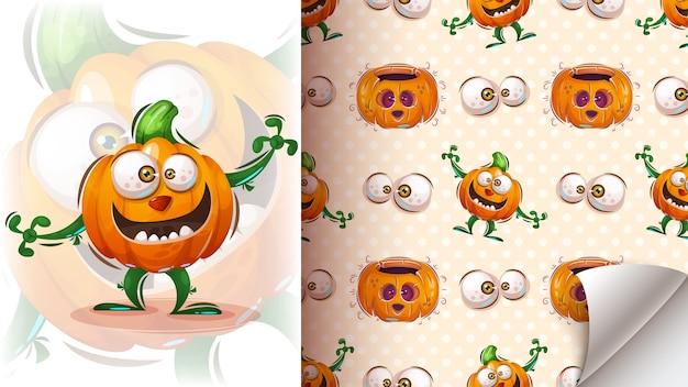 Netter halloween-kürbis - nahtloses muster.