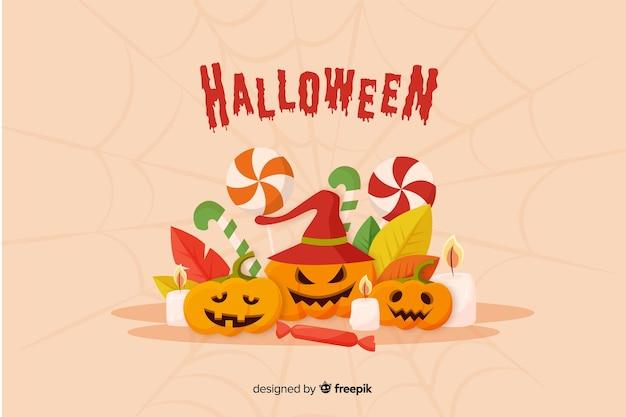Netter halloween-kürbishintergrund im flachen design