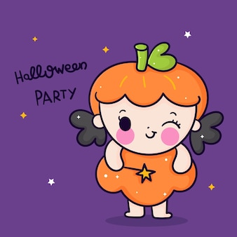 Netter halloween-mädchenkarikatur, der zauberstab kawaii hand gezeichnet hält