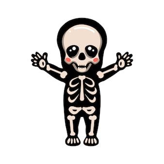 Netter halloween-skelett-cartoon, der die hände anhebt