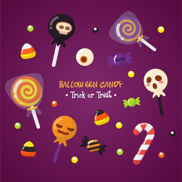 Netter halloween-süßigkeits-satz