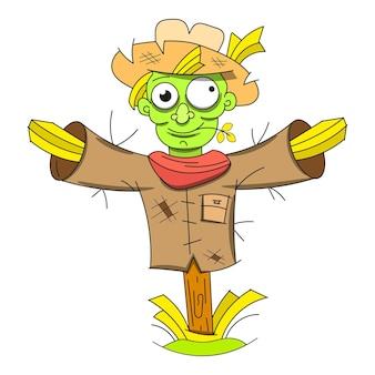 Netter halloween-vogelscheuche-doodle-patch-aufkleber. vektor-illustration