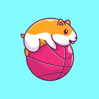 Netter hamster, der ball-symbol-illustration spielt. hamster maskottchen zeichentrickfigur. tierikon-konzept isoliert