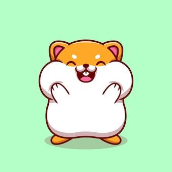 Netter hamster, der die wangen-karikatur-illustration hält.