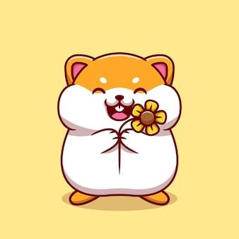 Netter hamster, der sonnenblumen-karikaturillustration hält.