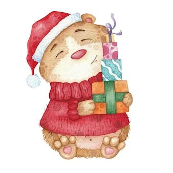 Netter hamster in der roten strickjacke und im hut mit geschenken. aquarellillustration für weihnachten