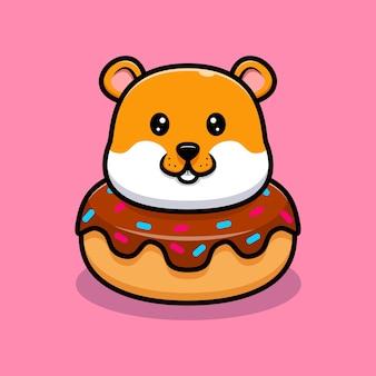 Netter hamster in donaut-cartoon-illustration