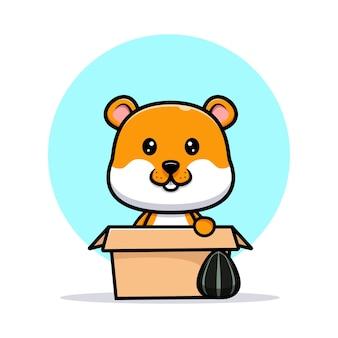 Netter hamster innerhalb der kastenkarikaturillustration