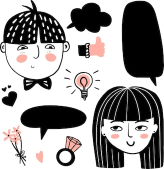 Netter handgezeichneter doodle-satz eines verliebten paares in sprechblasenidee, lampenverlobungsring