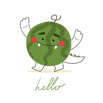 Netter handgezeichneter druck mit wassermelone und satz hallo im flachen stil