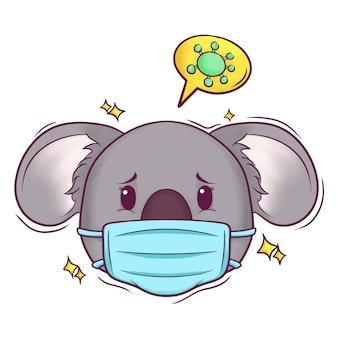 Netter handgezeichneter koala mit maske