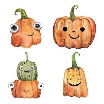 Netter handgezeichneter kürbiskürbis in aquarell für halloween.
