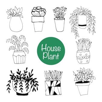 Netter handgezeichneter satz blumentöpfe. gekritzelvektorillustrations-zimmerpflanzen für hochzeitsdesign, logo und grußkarte. isoliert auf weißem hintergrund.
