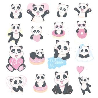 Netter handgezeichneter satz von panda