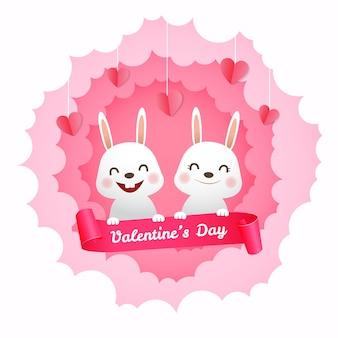Netter hasenpaarcharakter in der liebe. papierschnitt stil valentine gruß. realistisch.