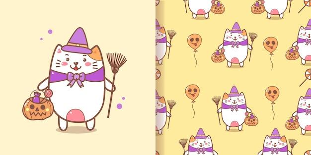 Netter hexenkatze nahtloser muster-halloween-hintergrund.