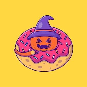 Netter hexenkürbis in donuts glückliche halloween-karikatur-illustration