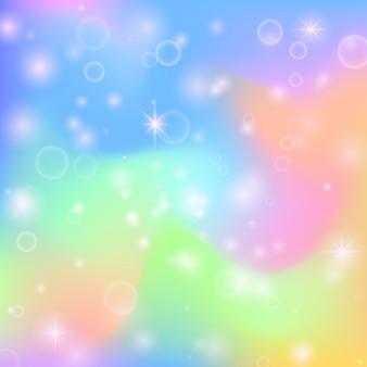 Netter hintergrund der feenhaften prinzessin regenbogen mit magischen sternen und perlglanzbeschaffenheit