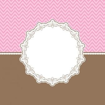 Netter hintergrund mit dekorativen grenze in rosa und braun