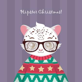 Netter hippie-schneeleopard in der hässlichen weihnachtsstrickjacke