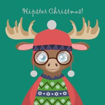 Netter hipster elch mit einem hässlichen weihnachtspullover