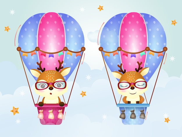 Netter hirsch auf heißluftballon