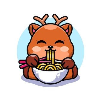 Netter hirsch, der ramen mit essstäbchenkarikatur isst