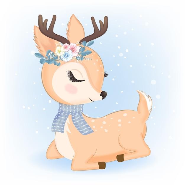 Netter hirsch mit blumenstrauß in der weihnachtsillustration