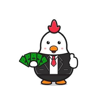 Netter hühnerchef, der geldkarikaturikonenillustration hält. entwerfen sie isolierten flachen cartoon-stil