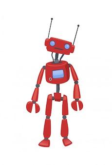 Netter humanoider roboter, android mit künstlicher intelligenz. karikaturillustration, auf weißem hintergrund.