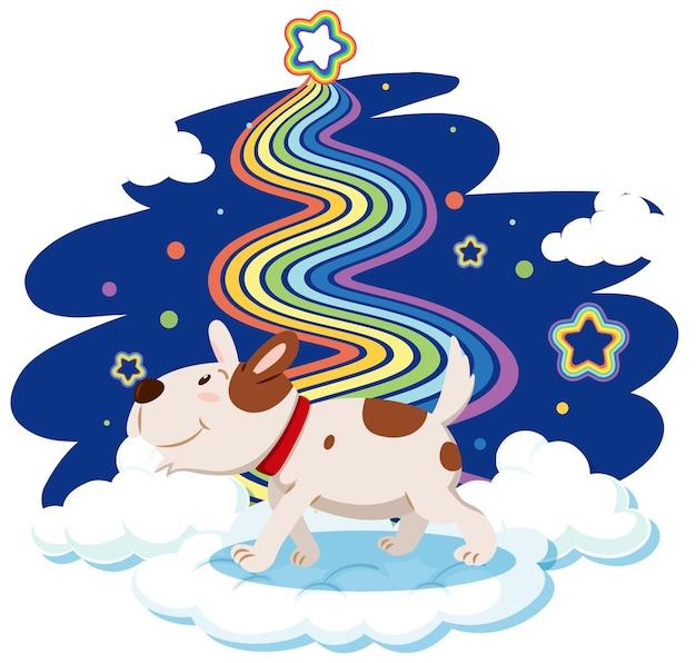 Netter hund, der auf der wolke mit regenbogen steht