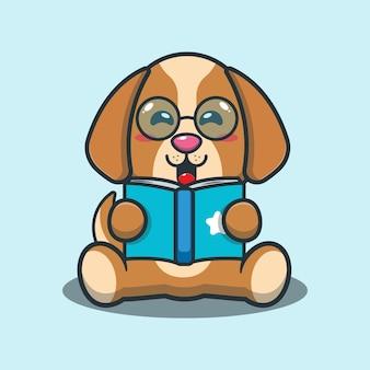 Netter hund, der eine buchkarikaturillustration liest