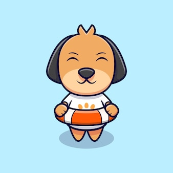 Netter hund, der eine lebensweste-karikatur-symbol-illustration trägt. flacher cartoon-stil