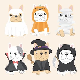 Netter hund der französischen bulldogge in der flachen artsammlung halloween-kostüms