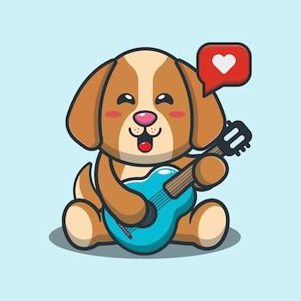Netter hund, der gitarrenkarikaturillustration spielt