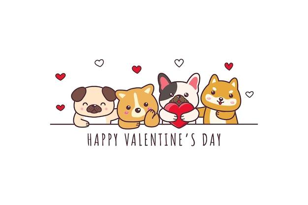 Netter hund, der glückliches valentinstag-gekritzel zeichnet