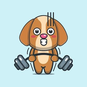 Netter hund, der hantelkarikaturillustration anhebt
