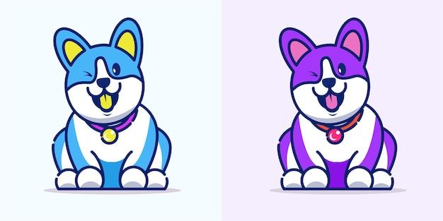 Netter hund, der ihre zunge heraus karikaturikonenillustration heraushält