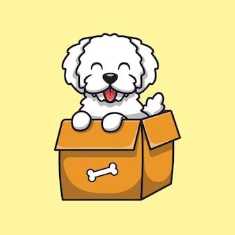 Netter hund, der in der box-karikatur-illustration spielt. isolierte flache karikatur des tier-natur-konzepts