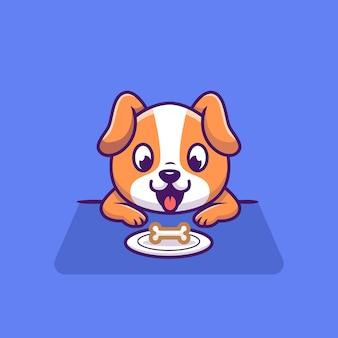 Netter hund, der knochen auf plattenkarikatur schaut