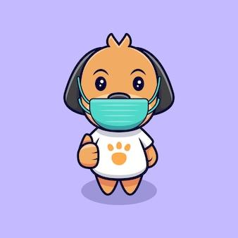 Netter hund, der medizinische maske cartoon icon illustration trägt. flacher cartoon-stil
