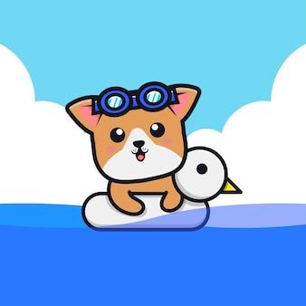 Netter hund, der mit schwimmringkarikaturillustration schwimmt