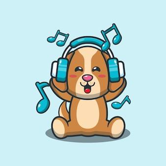 Netter hund, der musik mit kopfhörer hört