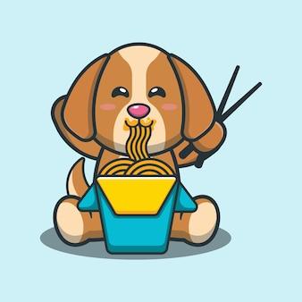Netter hund, der nudelkarikaturillustration isst