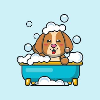Netter hund, der schaumbad in der badewannenkarikaturillustration nimmt