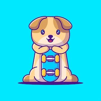 Netter hund, der skateboard-karikatur-illustration hält. tierflaches cartoon-stil-konzept